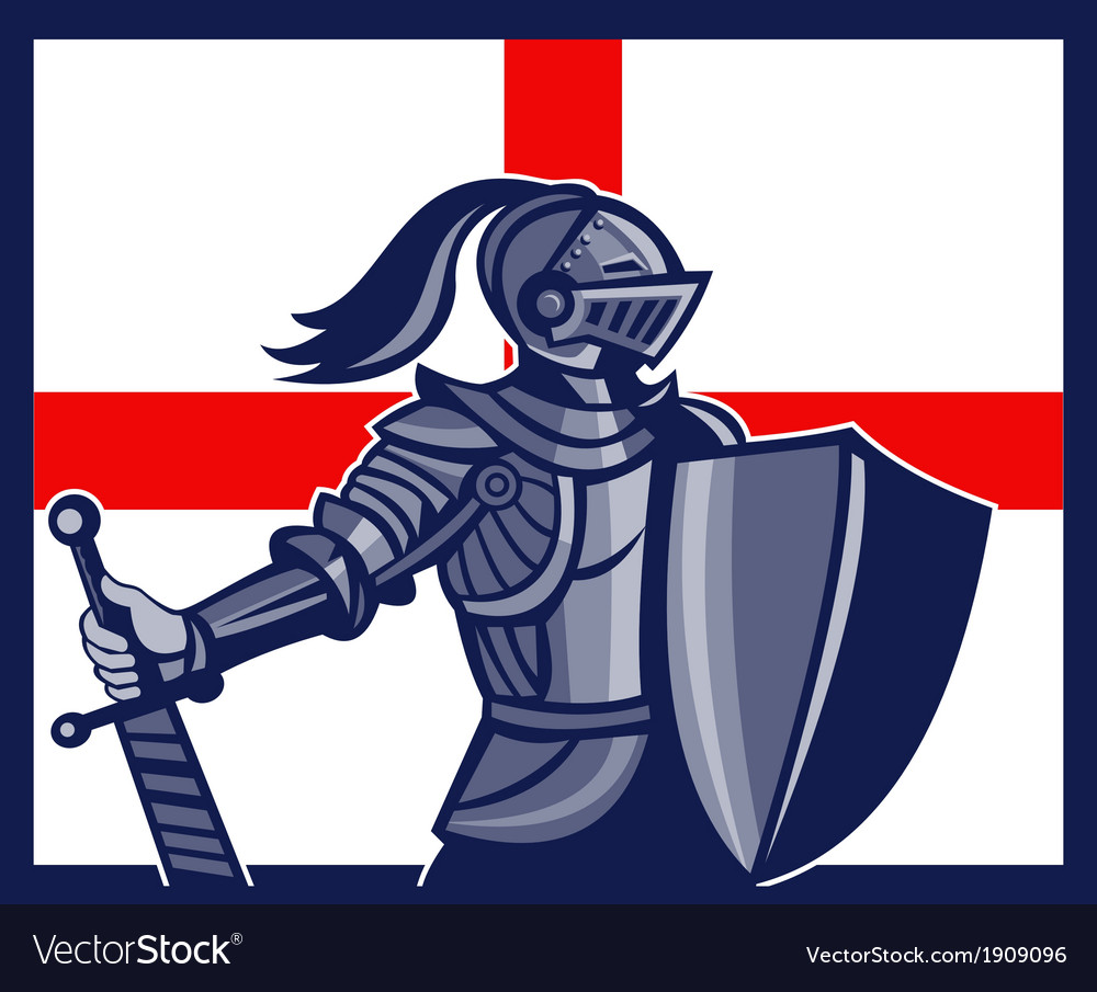 English knight holding sword england flag retro vector | Price: 3 Credit (USD $3)
