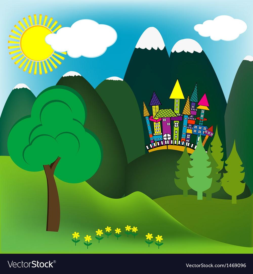 Mountain doodle landscape vector | Price: 1 Credit (USD $1)