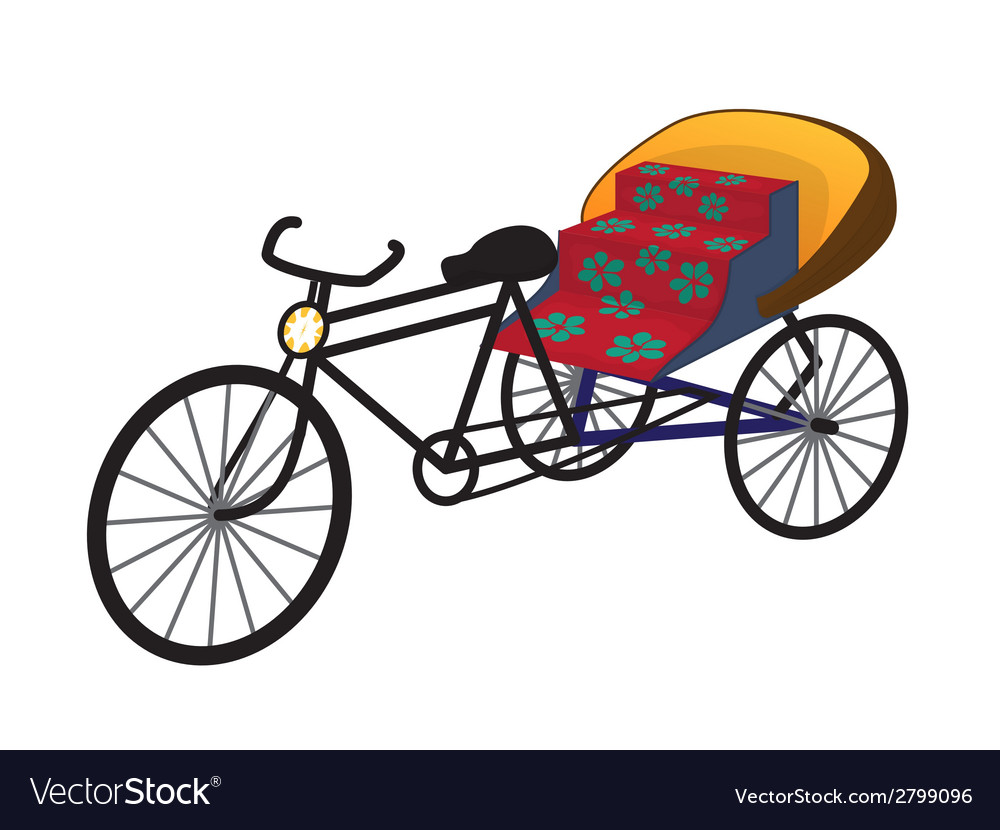 Oriental tricycle rickshaw cab vector | Price: 1 Credit (USD $1)