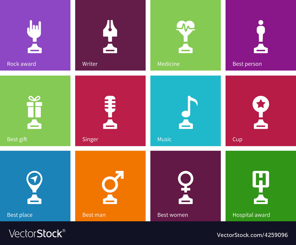 Prize and awards icons on color background vector | Price: 1 Credit (USD $1)