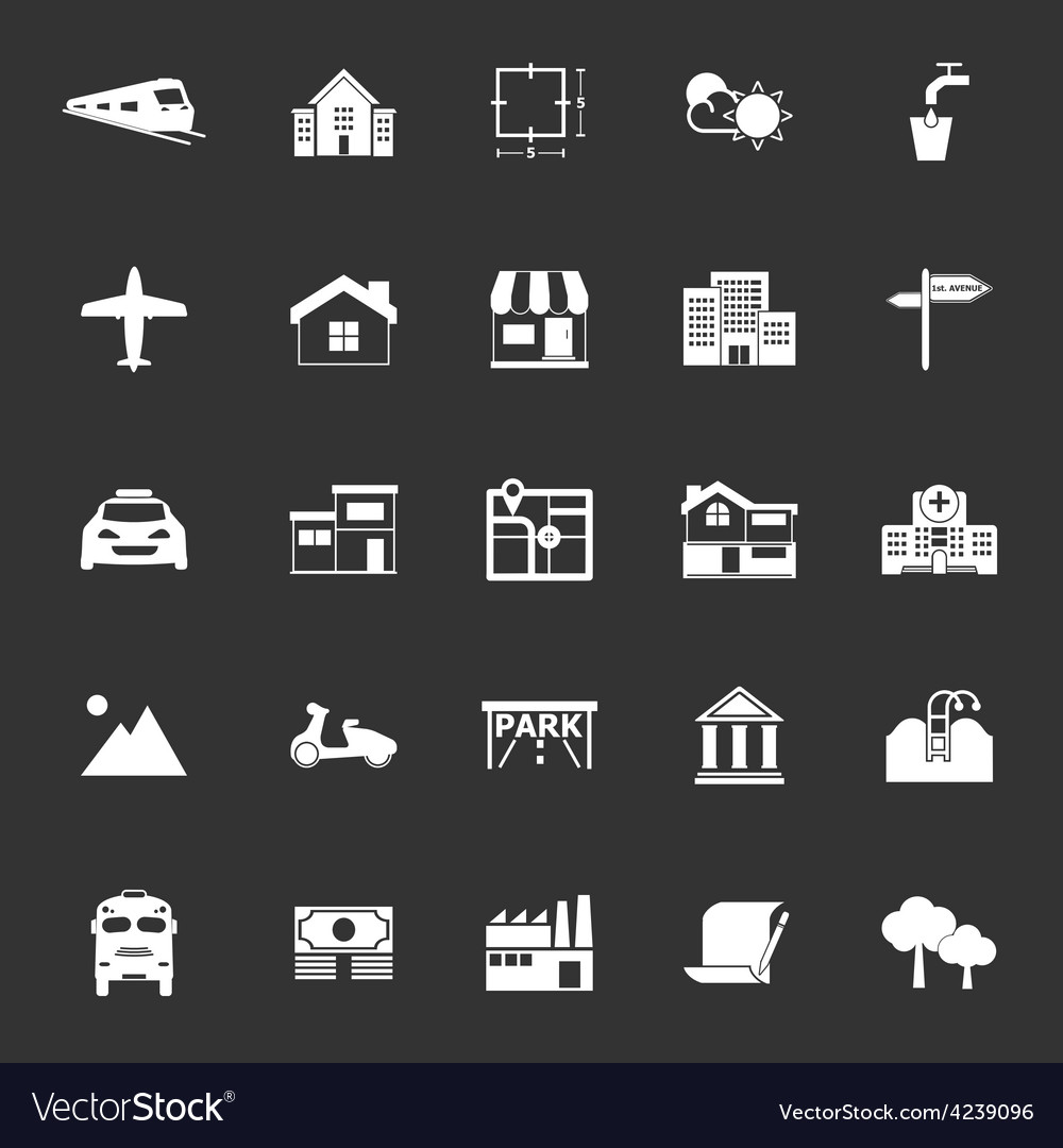 Real estate icons on gray background vector | Price: 1 Credit (USD $1)