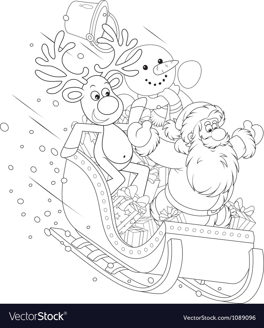 Santa reindeer and snowman in a sleigh vector | Price: 1 Credit (USD $1)