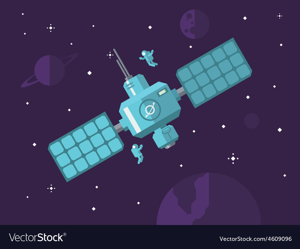 Satellite with astronauts in outer space vector