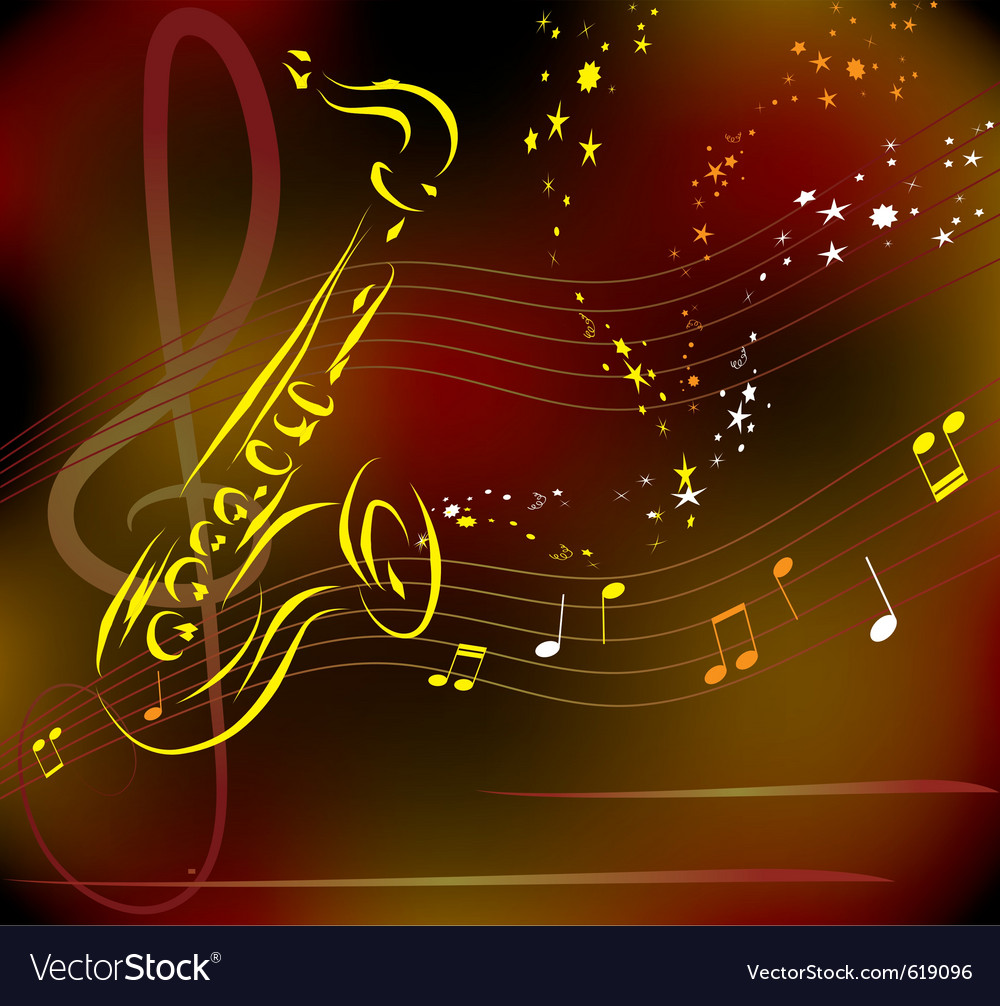 Saxophone on abstract background vector | Price: 1 Credit (USD $1)
