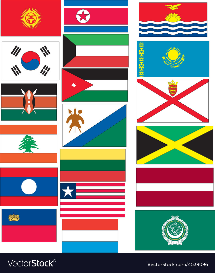 Set of 20 flags countries started with j k l vector | Price: 1 Credit (USD $1)
