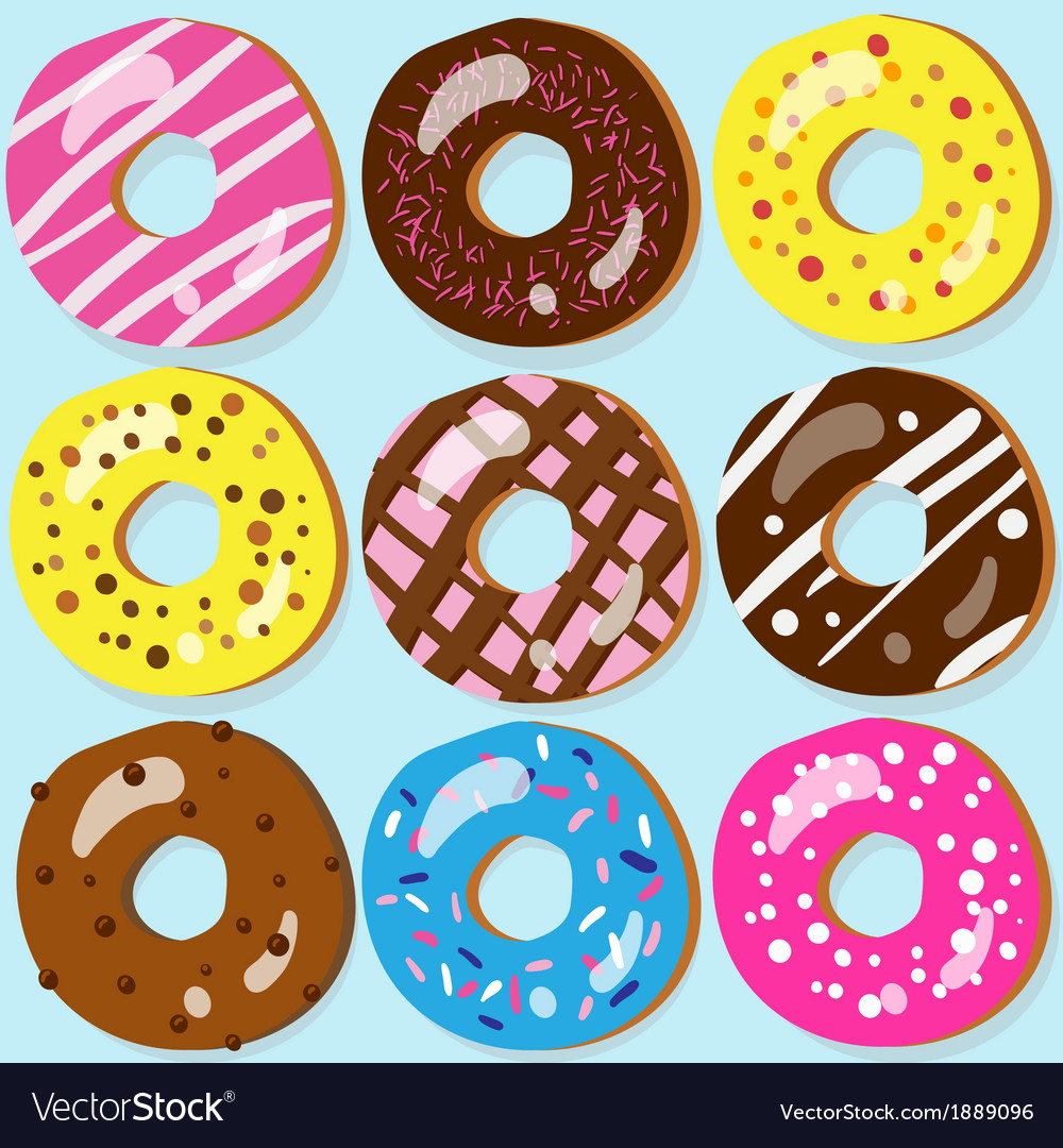 Set of 9 assorted doughnut icons with different vector | Price: 1 Credit (USD $1)