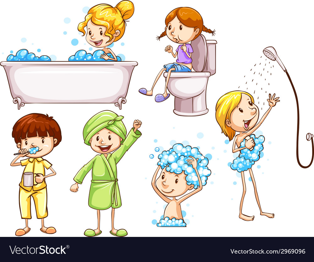 Simple coloured sketches of people taking a bath vector | Price: 1 Credit (USD $1)