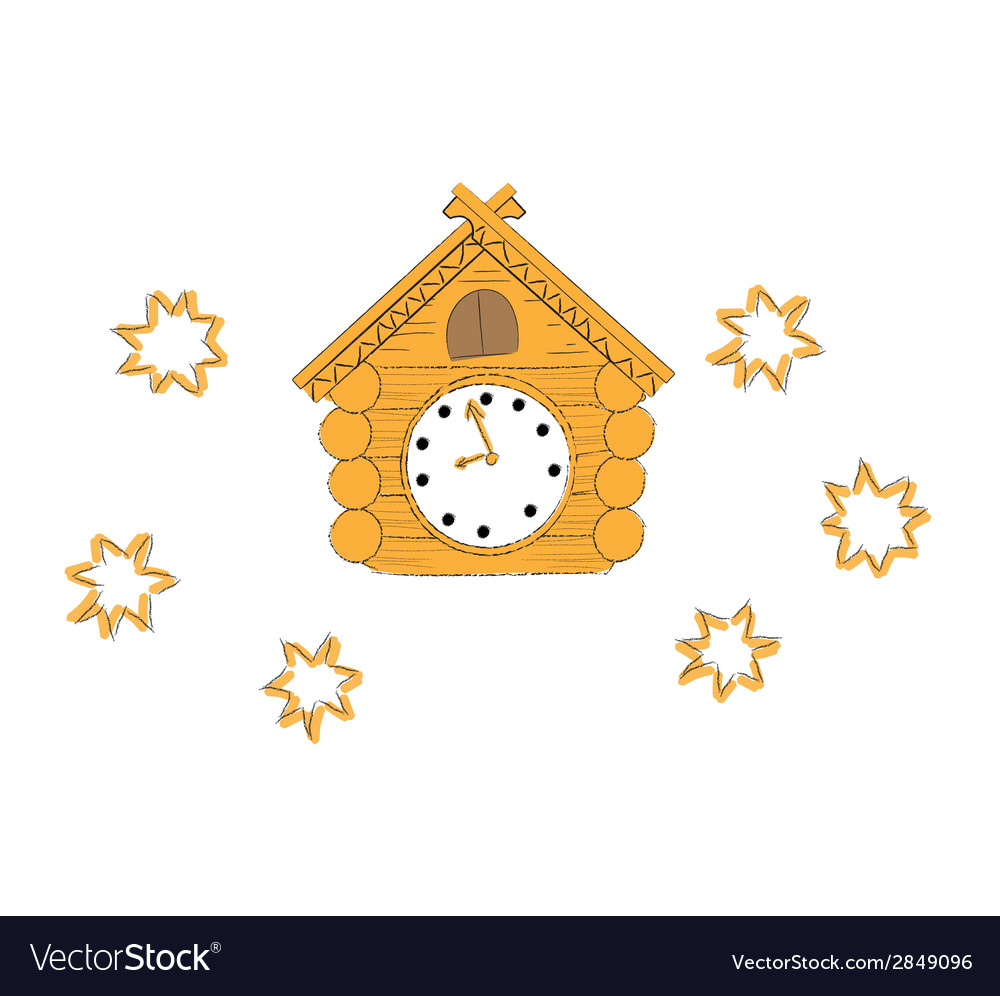 Wooden cuckoo clock vector | Price: 1 Credit (USD $1)
