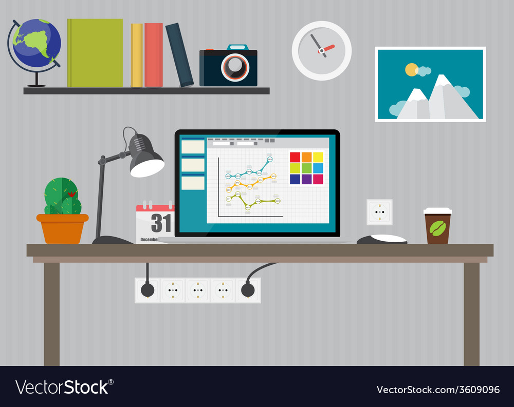Working place modern office interior flat design vector | Price: 1 Credit (USD $1)