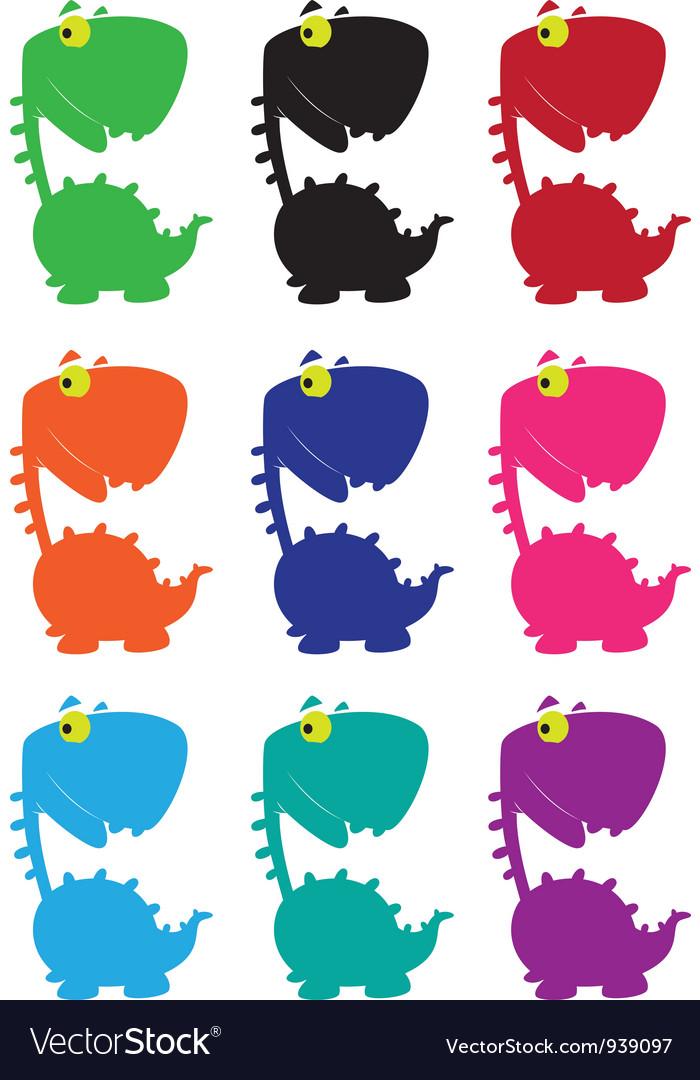 Dino cartoon funny color vector | Price: 1 Credit (USD $1)