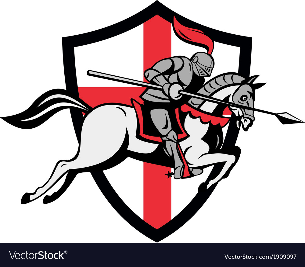 English knight riding horse england flag retro vector | Price: 1 Credit (USD $1)