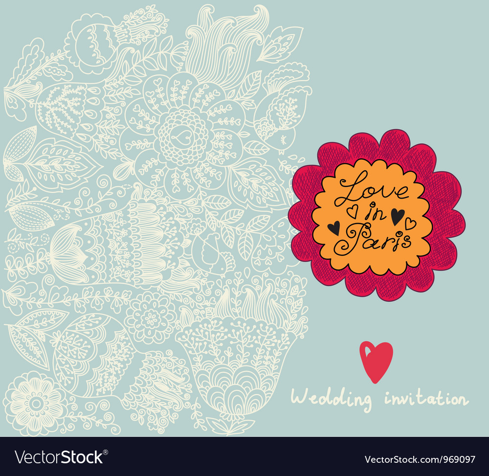 Floral wedding invitation background vector | Price: 1 Credit (USD $1)