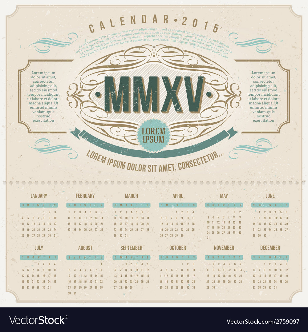 Ornate vintage calendar of 2015 vector | Price: 1 Credit (USD $1)