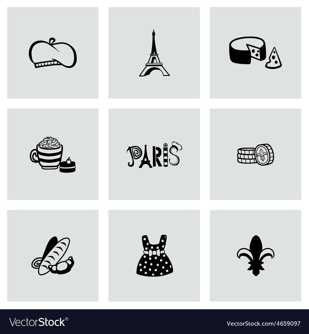 Paris icon set vector | Price: 1 Credit (USD $1)