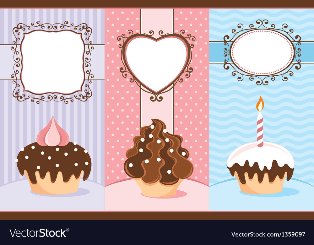 Three banners with cupcakes vector | Price: 1 Credit (USD $1)