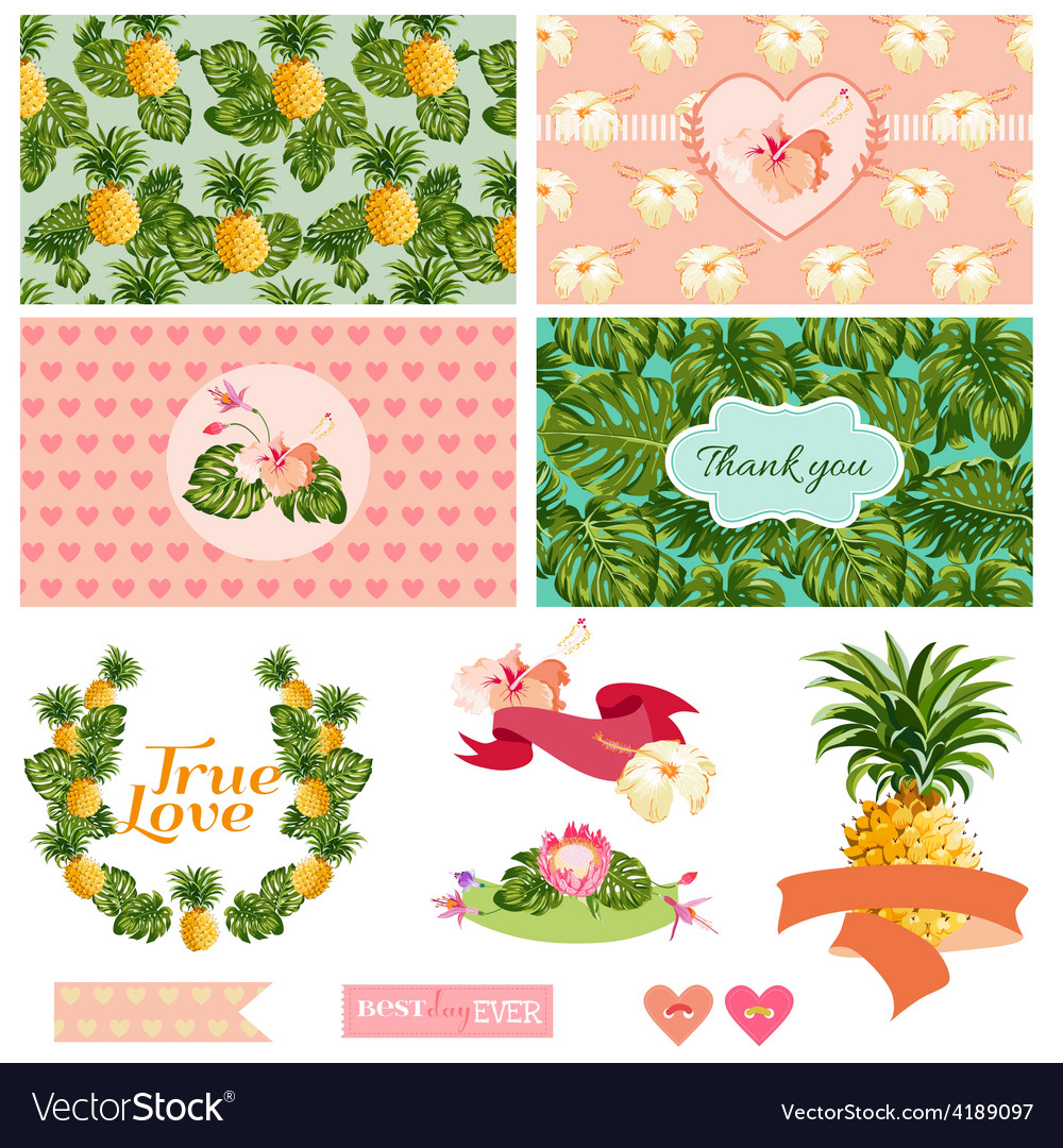 Tropical floral wedding set vector | Price: 1 Credit (USD $1)