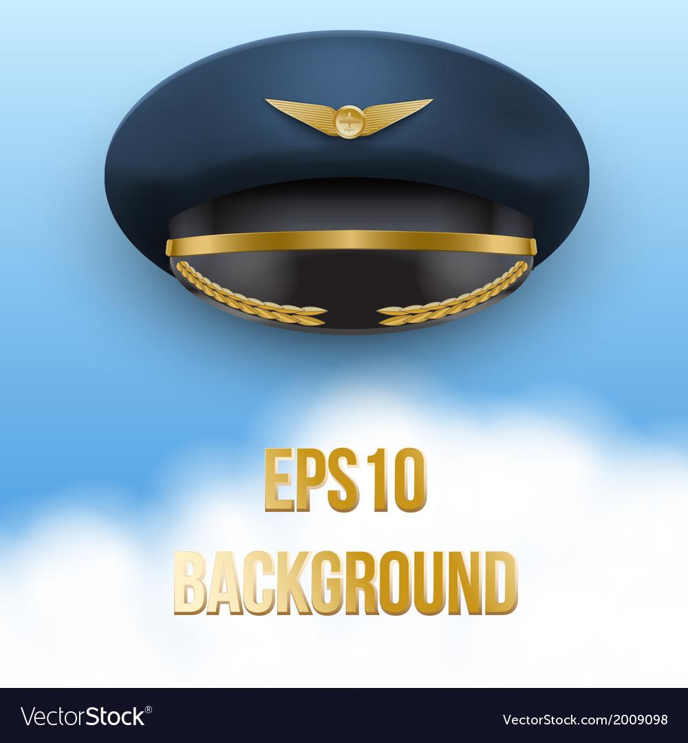 Aviator peaked cap of the pilot vector   Price: 1 Credit (USD $1)