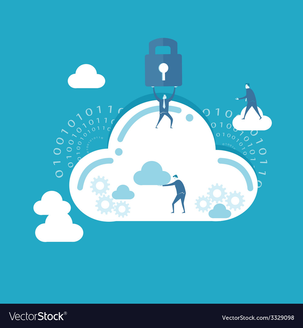 Businessman and cloud computing vector | Price: 1 Credit (USD $1)