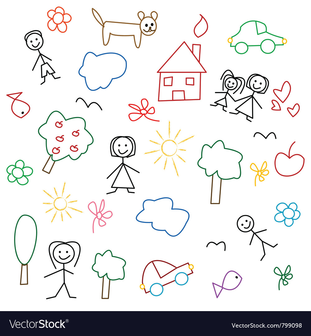 Children drawing seamless pattern vector | Price: 1 Credit (USD $1)