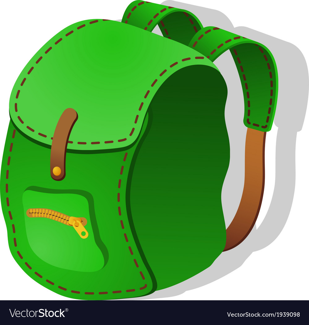 Green backpack vector | Price: 1 Credit (USD $1)