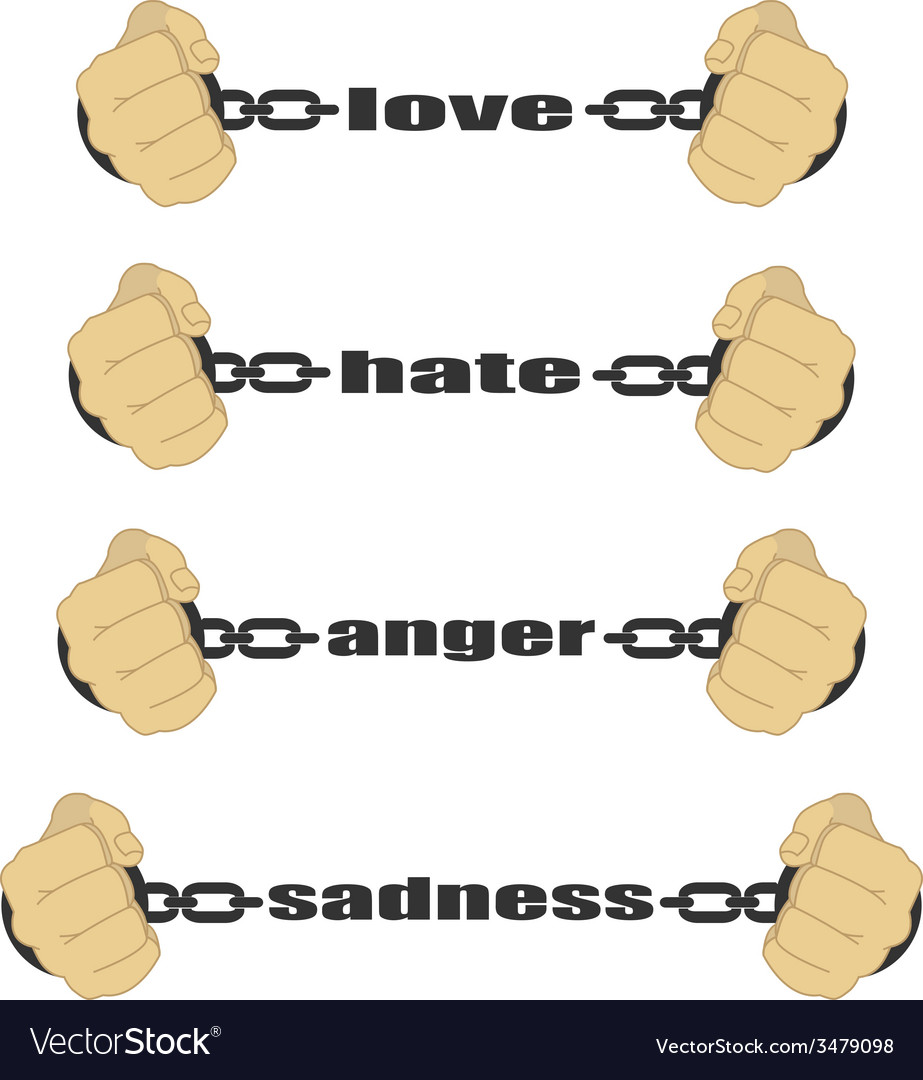 Love hate anger sadness signs vector | Price: 1 Credit (USD $1)