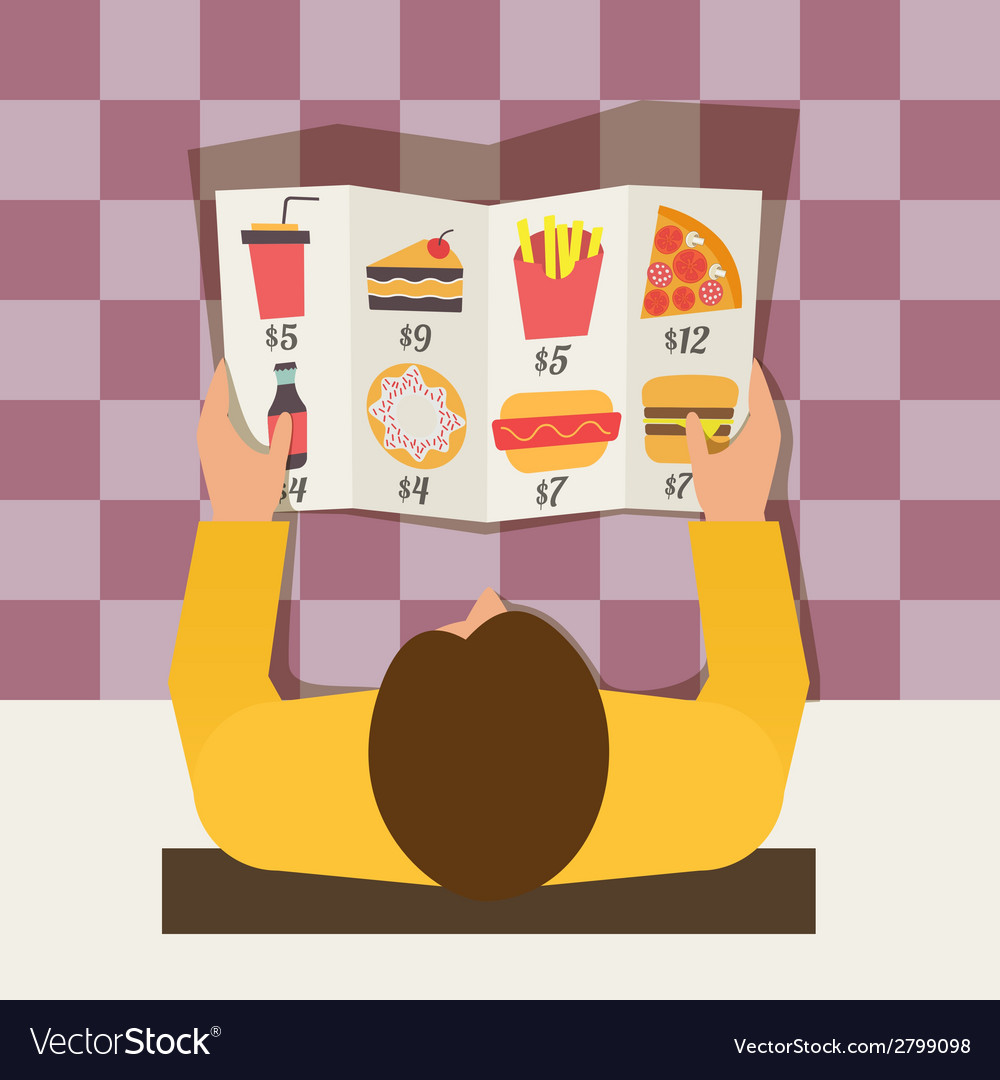 Lunch time man ordering meal in fast food cafe vector | Price: 1 Credit (USD $1)