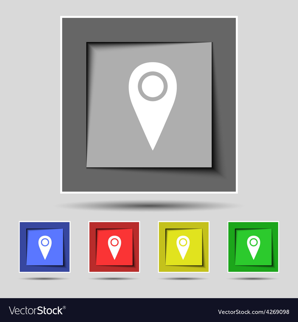 Map pointer icon sign on the original five colored vector | Price: 1 Credit (USD $1)