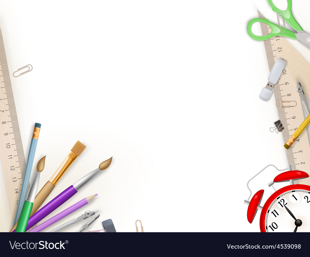 School supplies on white eps 10 vector | Price: 1 Credit (USD $1)
