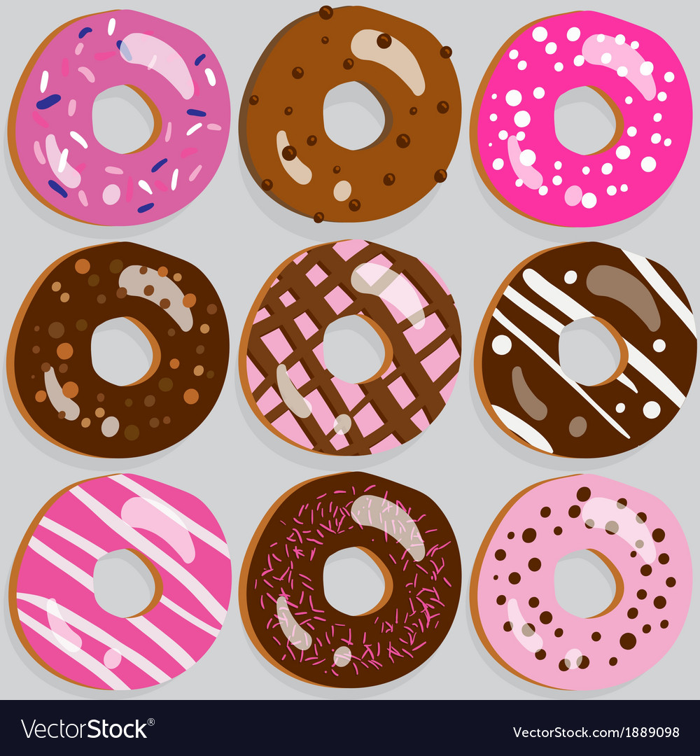 Set of 9 assorted doughnut icons with toppings vector | Price: 1 Credit (USD $1)