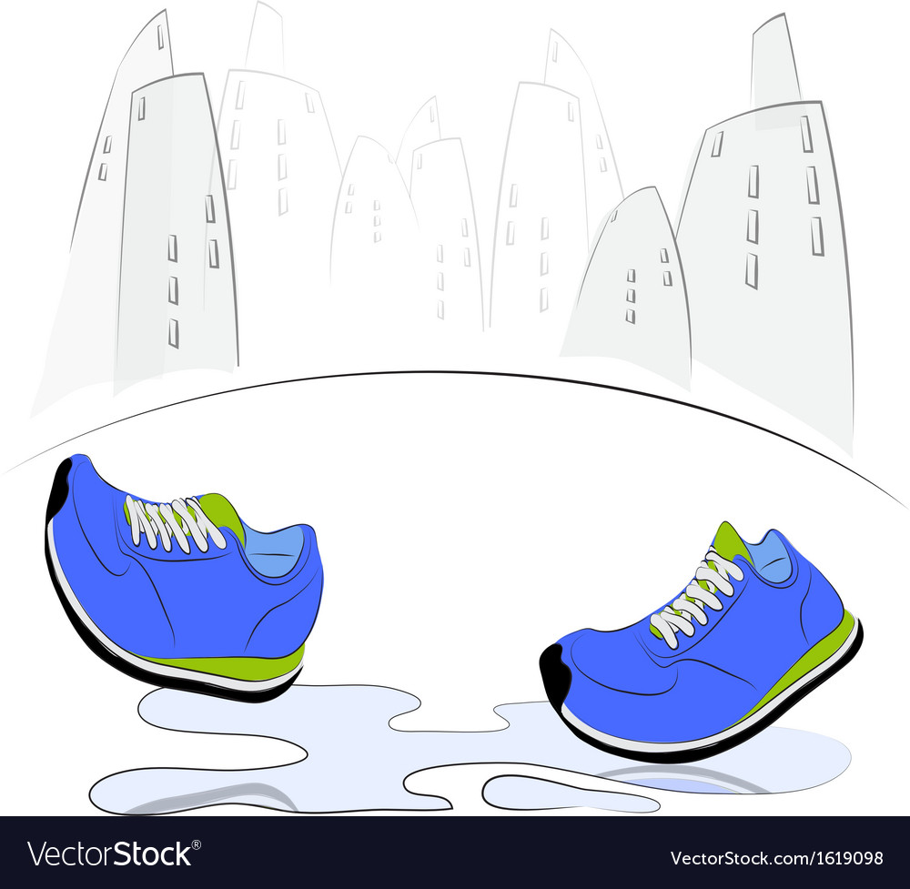 Sneakers walking through puddles in the city vector | Price: 1 Credit (USD $1)