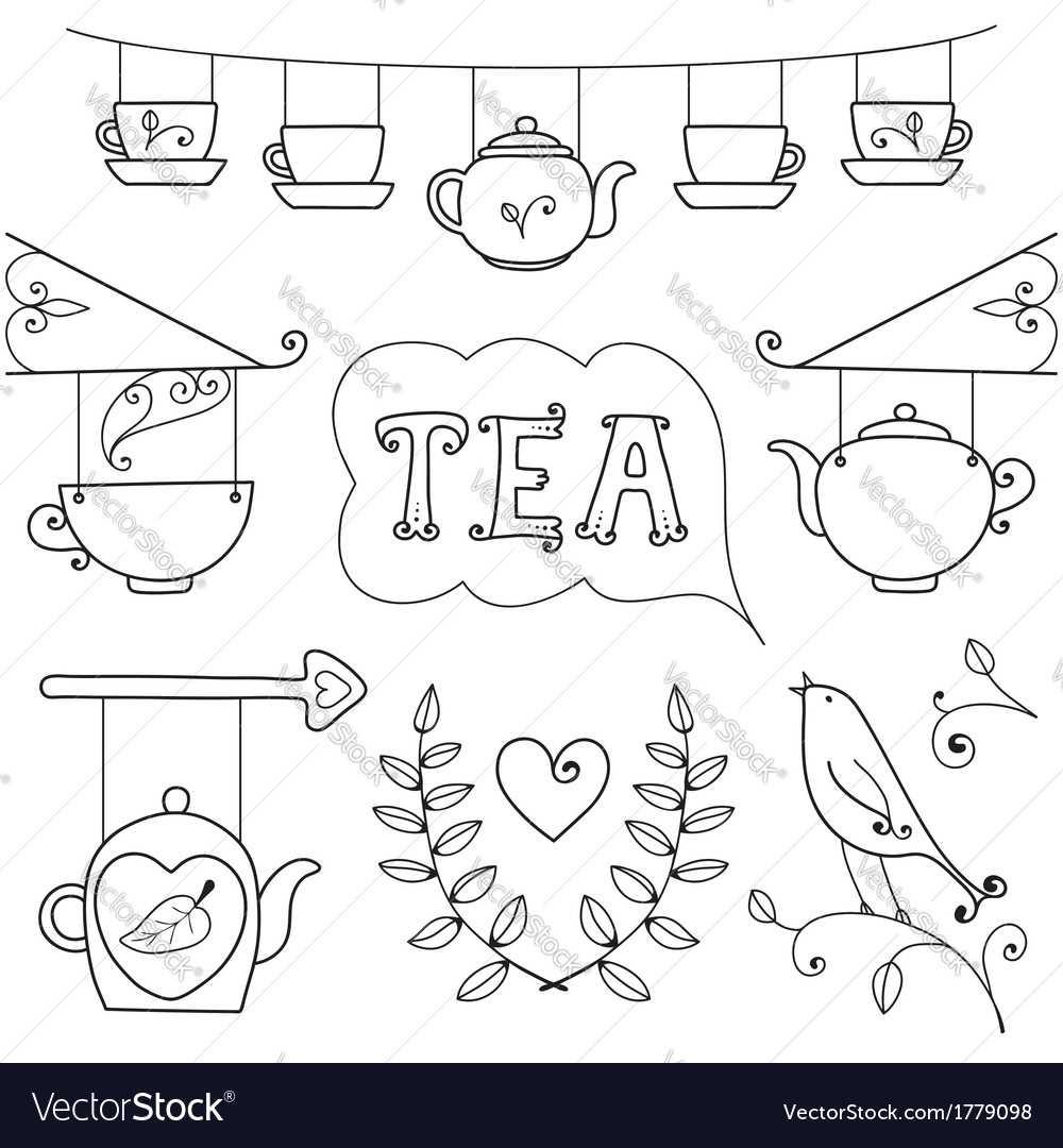 Tea card set of elements for design vector | Price: 1 Credit (USD $1)