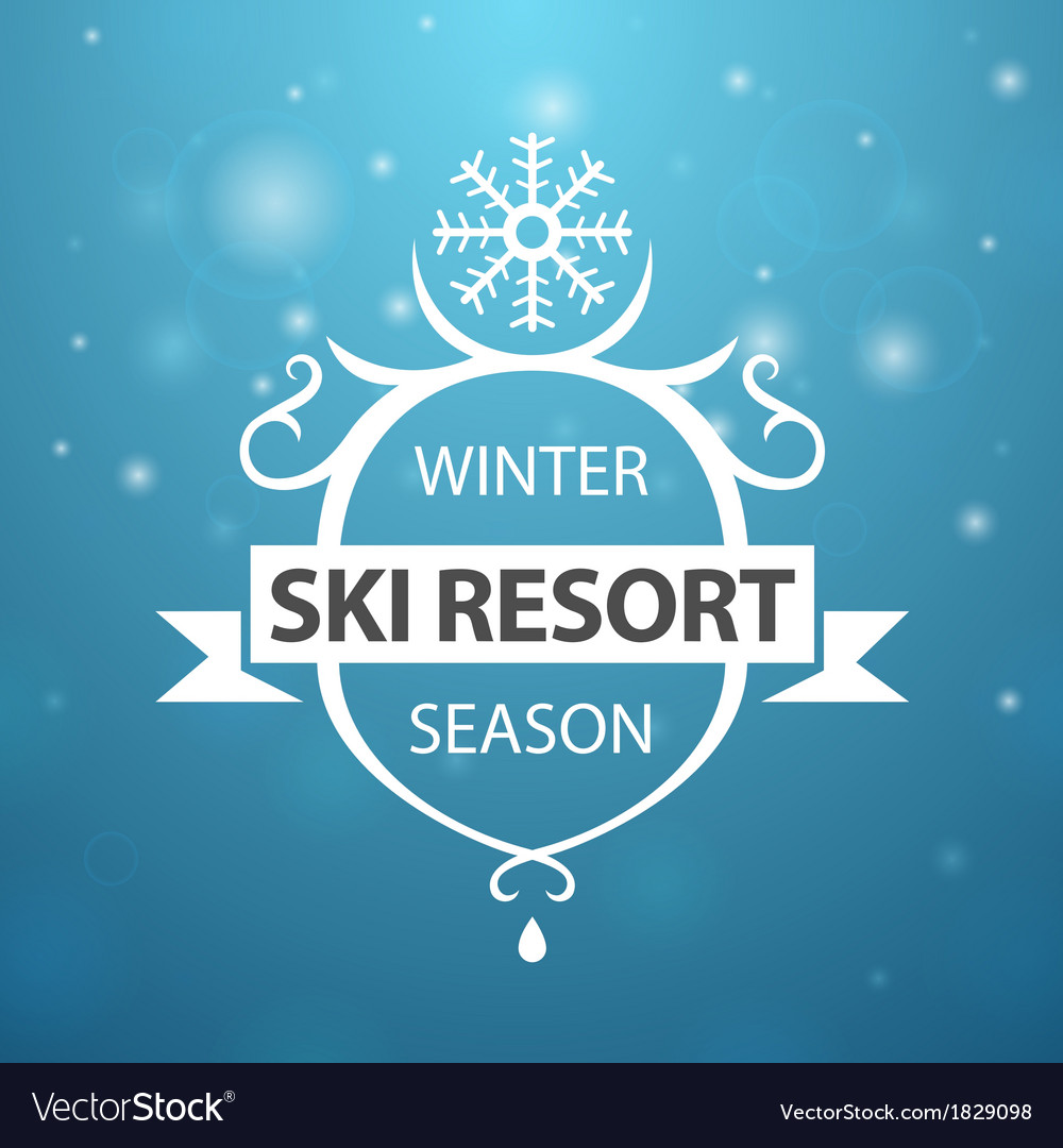 Winter ski resort season on blue background vector | Price: 1 Credit (USD $1)