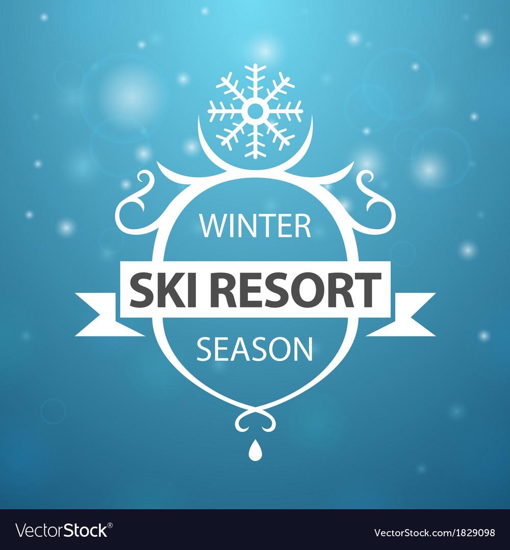 Winter ski resort season on blue background vector   Price: 1 Credit (USD $1)