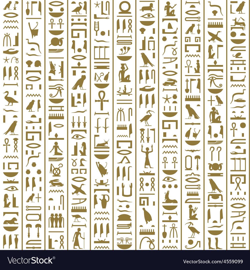 Ancient egyptian hieroglyphs seamless vector