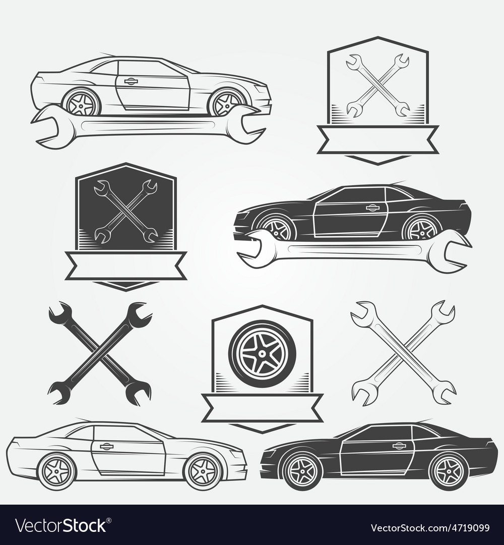 Auto service or repair labels vector | Price: 1 Credit (USD $1)