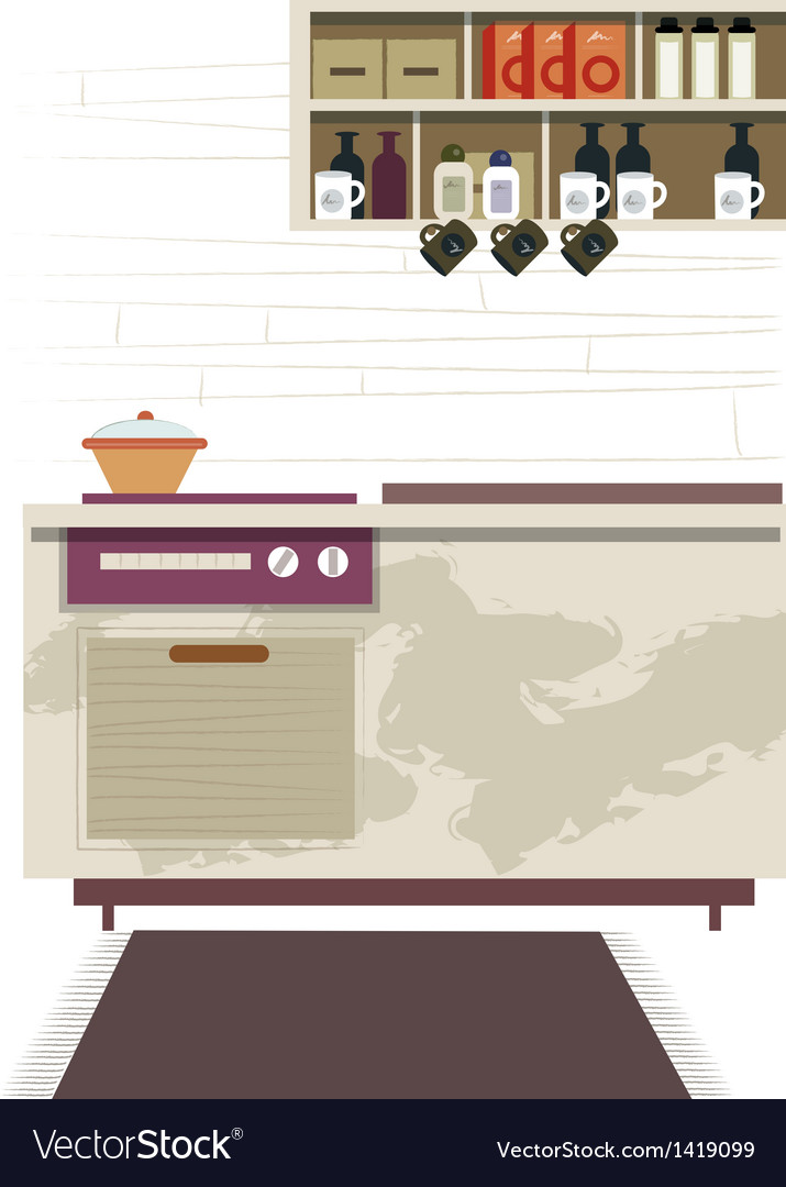 Kitchen interior background vector | Price: 1 Credit (USD $1)