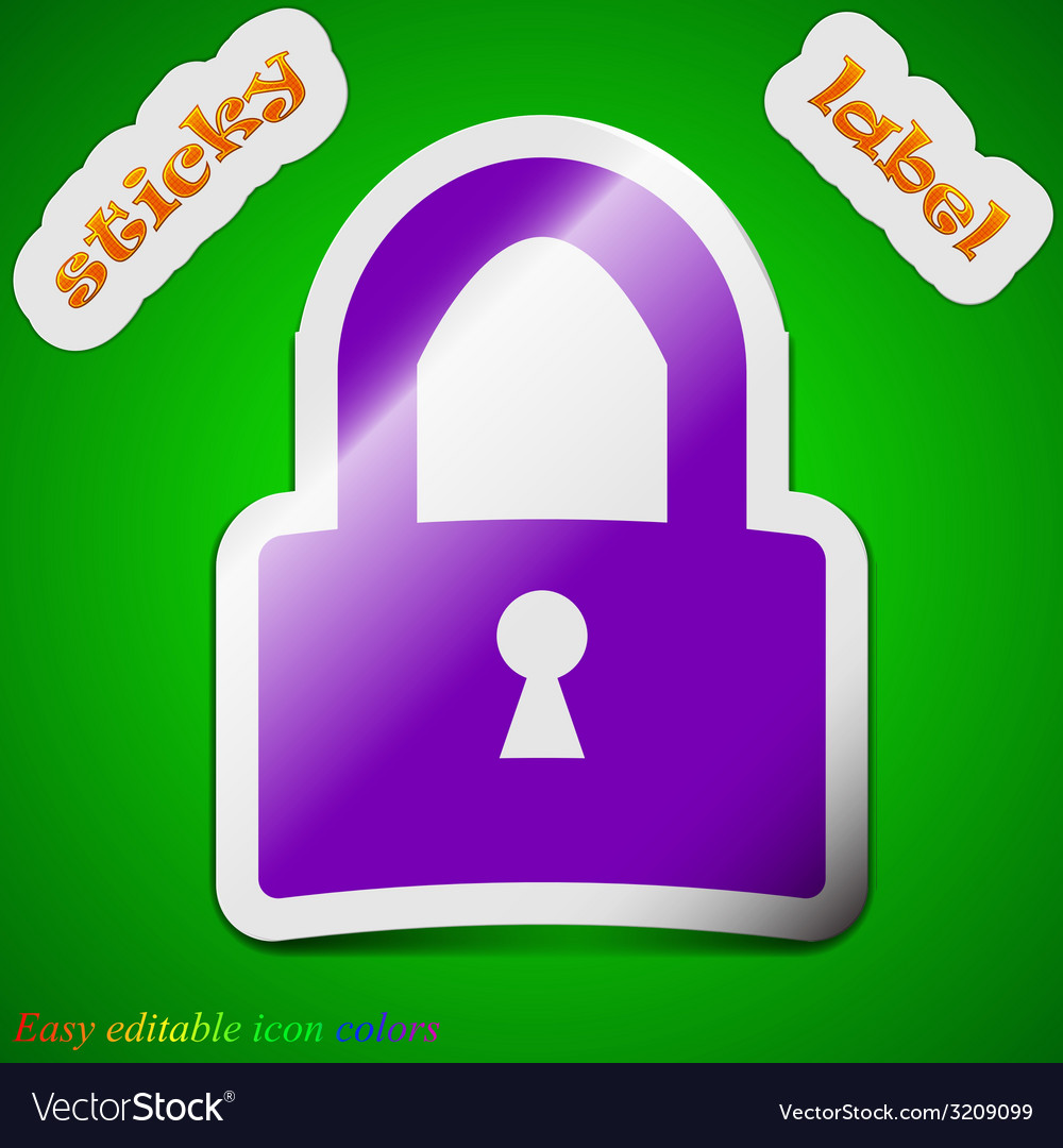 Lock icon sign symbol chic colored sticky label on vector | Price: 1 Credit (USD $1)