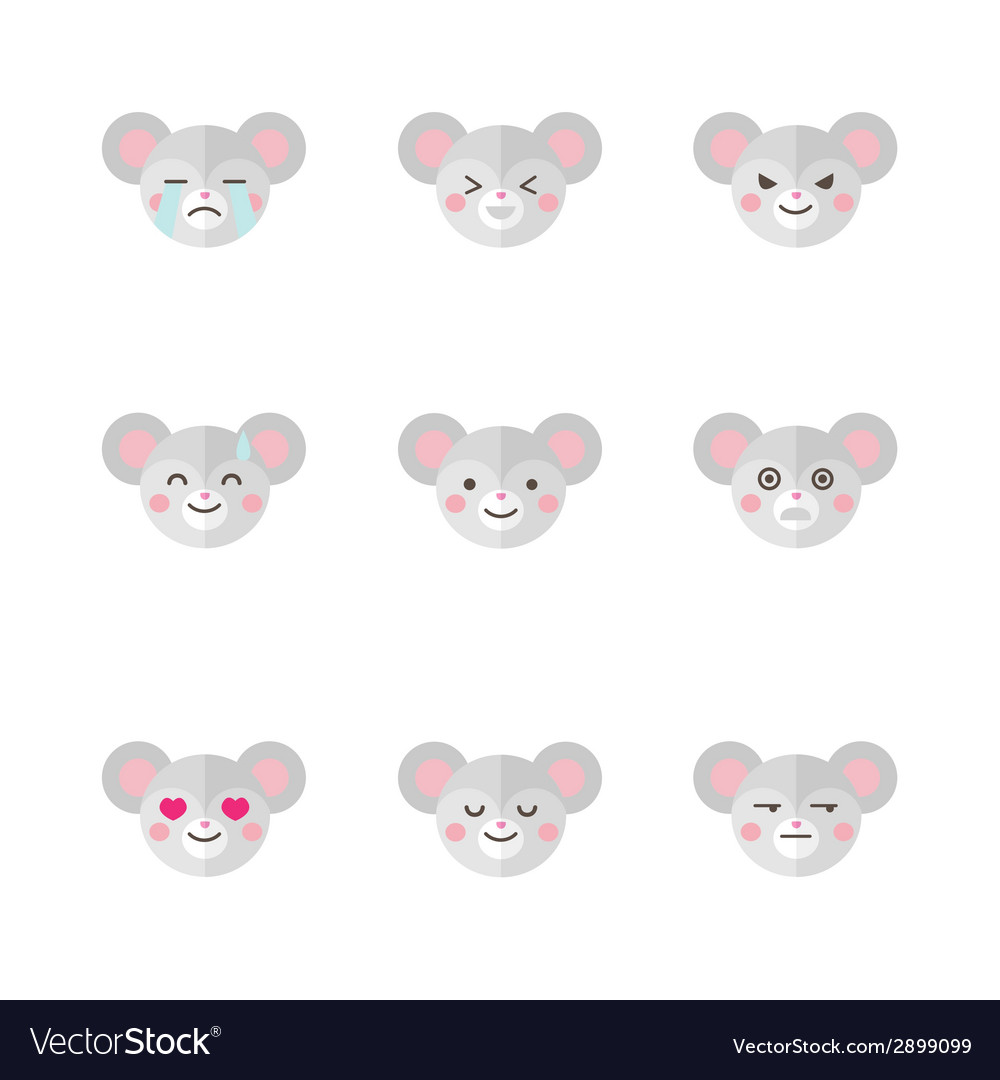 Minimalistic flat mouse emotions icon set vector | Price: 1 Credit (USD $1)