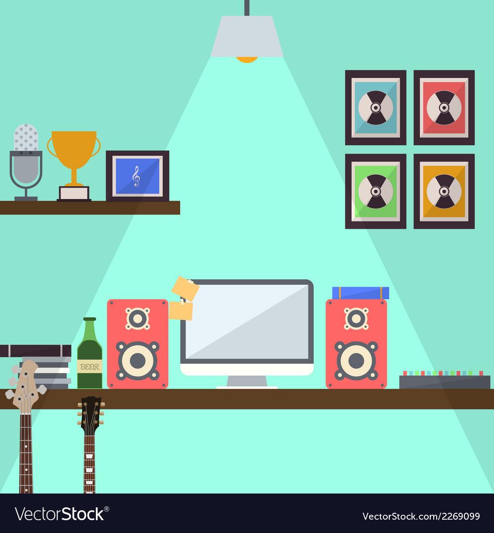 Musician studio workstation flat design vector | Price: 1 Credit (USD $1)