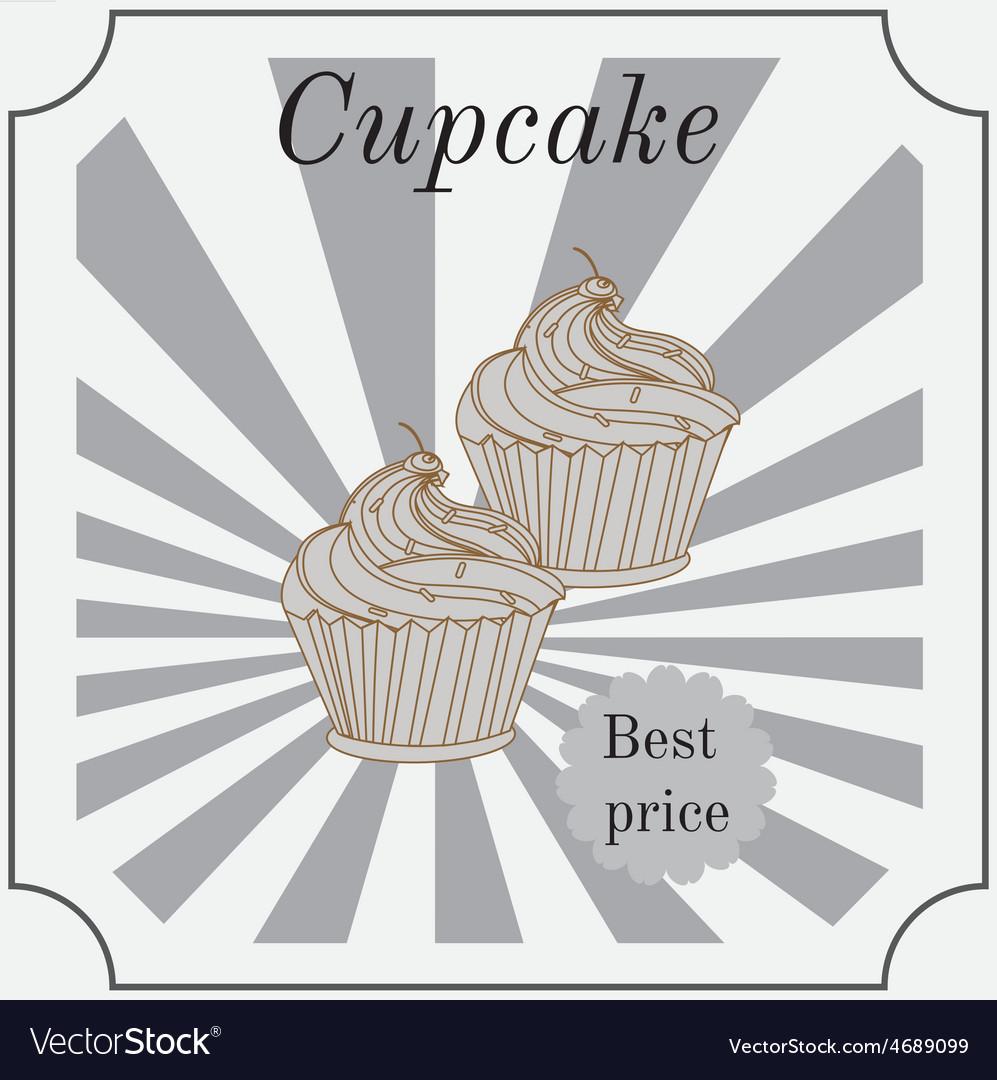 Retro cakes label vector | Price: 1 Credit (USD $1)