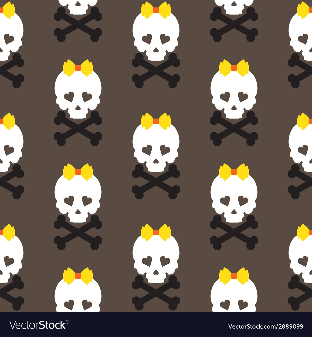 Skull with a bow seamless pattern background vector | Price: 1 Credit (USD $1)