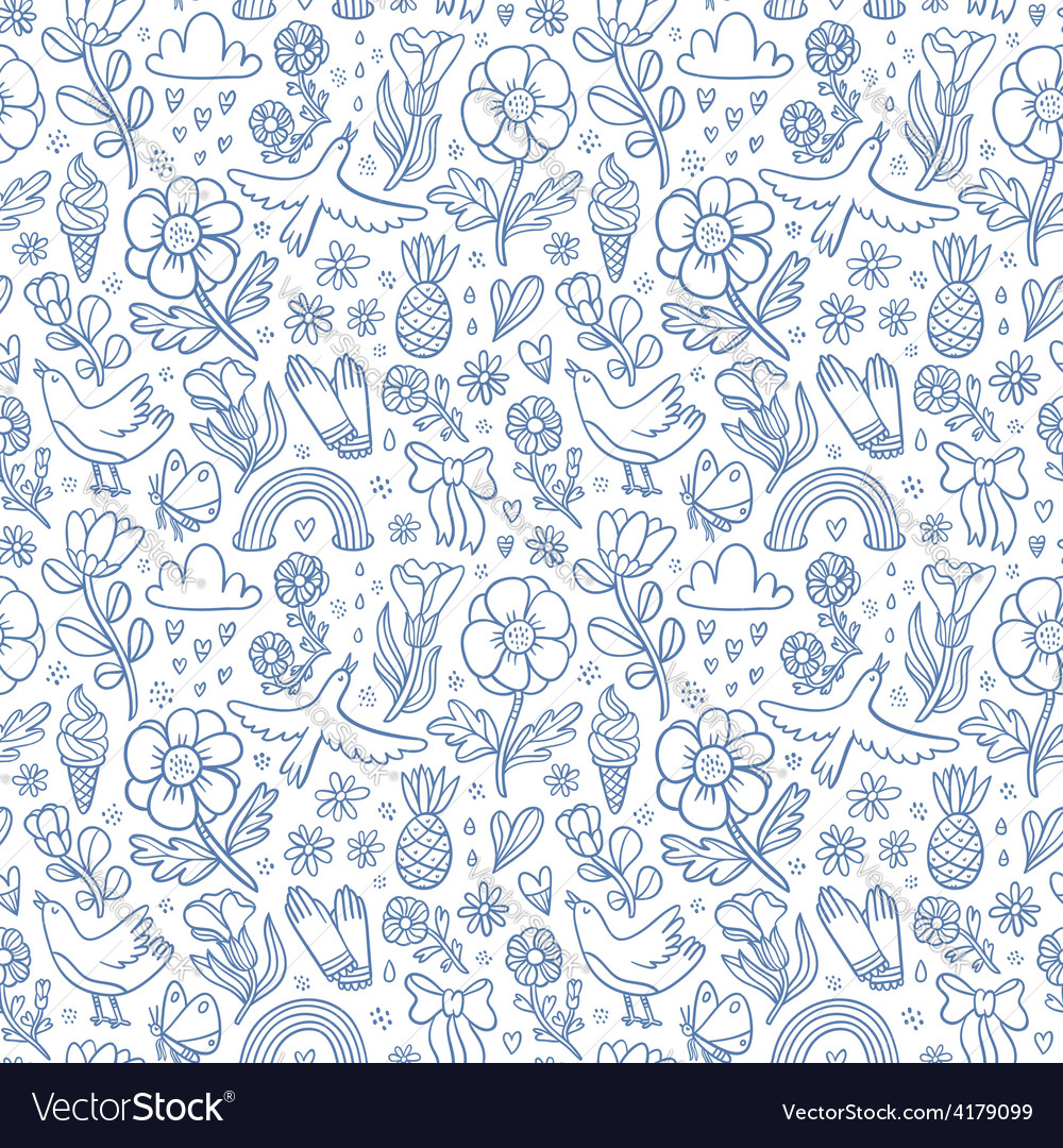 Summertime blue seamless pattern vector | Price: 1 Credit (USD $1)