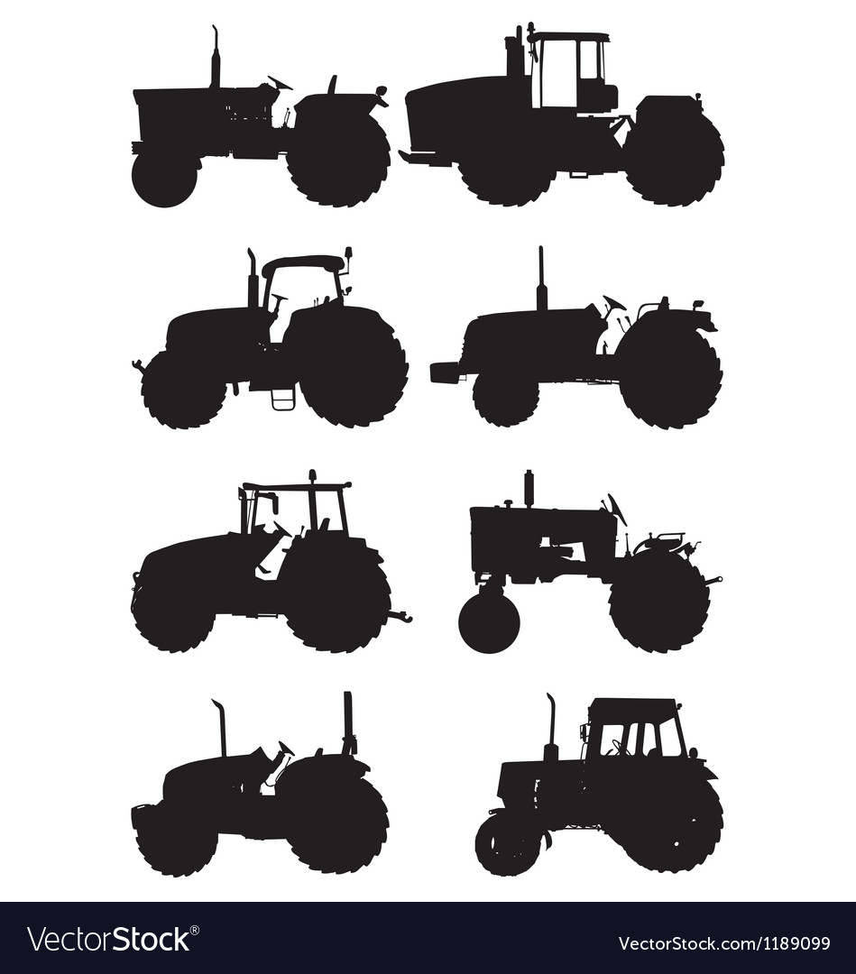 Tractor silhouettes vector | Price: 1 Credit (USD $1)