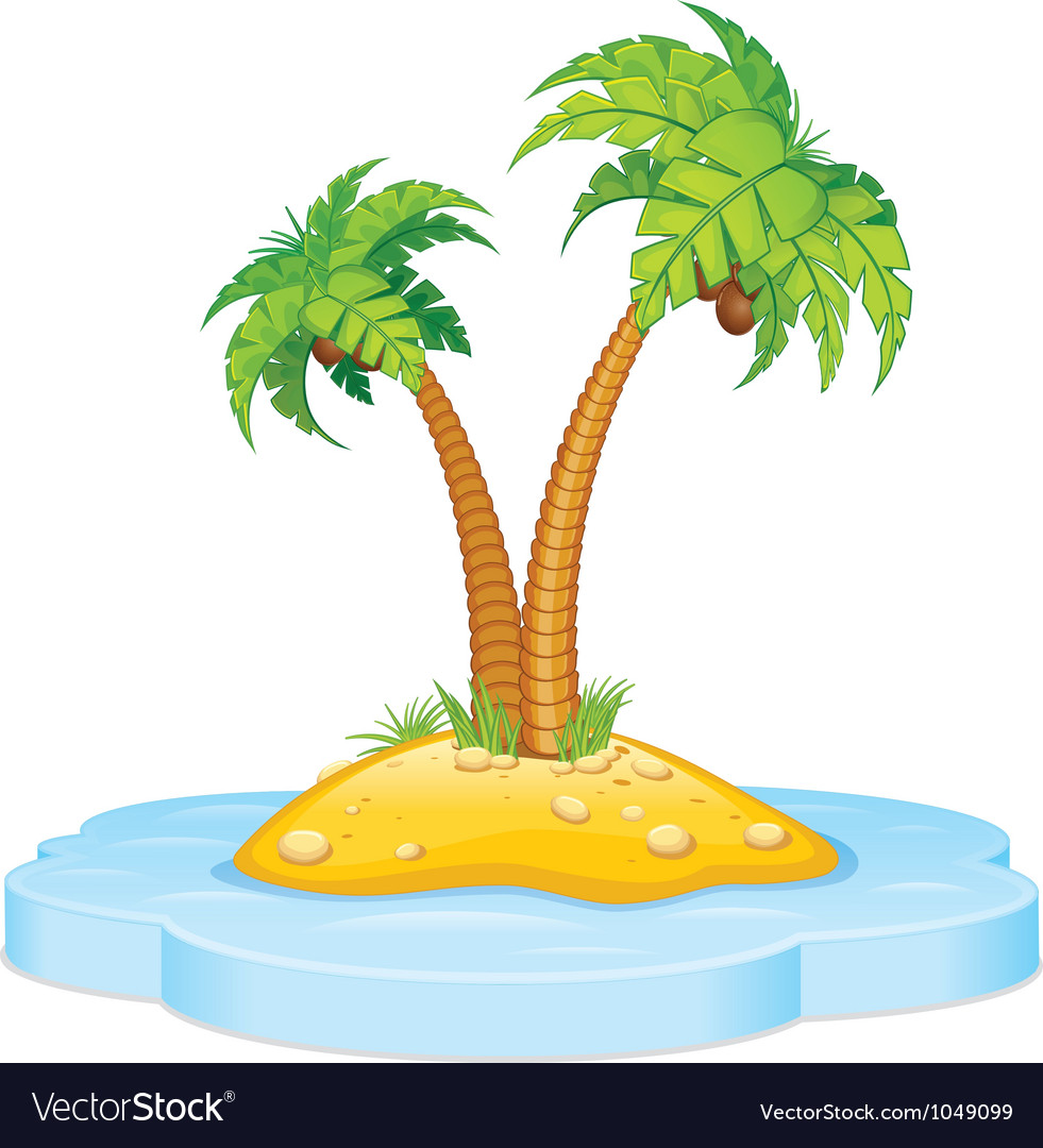 Tropic island with coconut palm vector | Price: 1 Credit (USD $1)