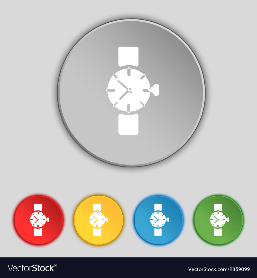 Wrist watch sign icon mechanical clock symbol set vector | Price: 1 Credit (USD $1)