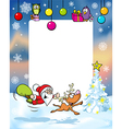 Christmas frame with funny santa claus and vector