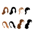 Set long hair natural and silhouette vector