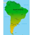 Map of south america continent vector