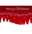 Red christmas postcard with trees vector