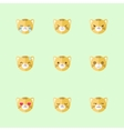 Minimalistic flat tiger emotions icon set vector